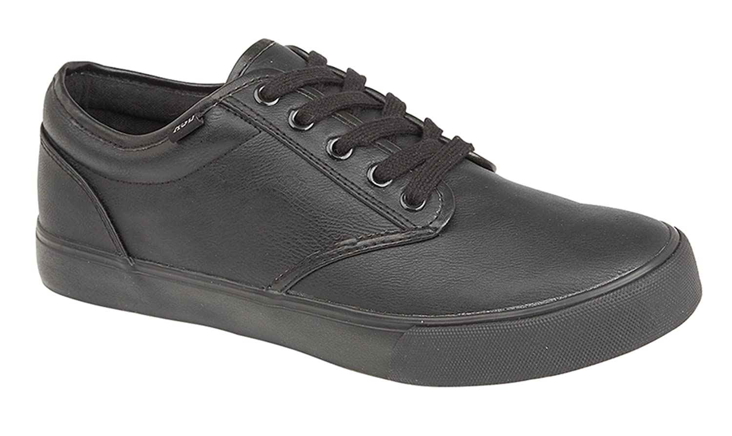 Mens Black Trainers Faux Leather Smart Casual Work Shoes Boys Girls