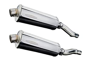 """Delkevic Aftermarket Slip On compatible with Kawasaki Ninja 500 EX500 GPZ500S Stubby 14"""" Stainless Steel Oval Muffler Exhaust 87-09"""