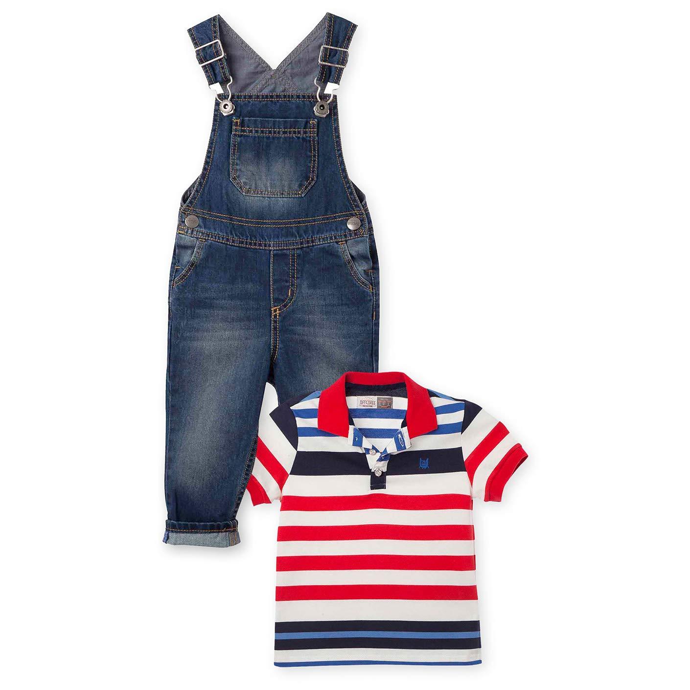 OFFCORSS Baby Toddler Boy Overall Pique Polo Shirt Outfit Conjunto Bebe Niño