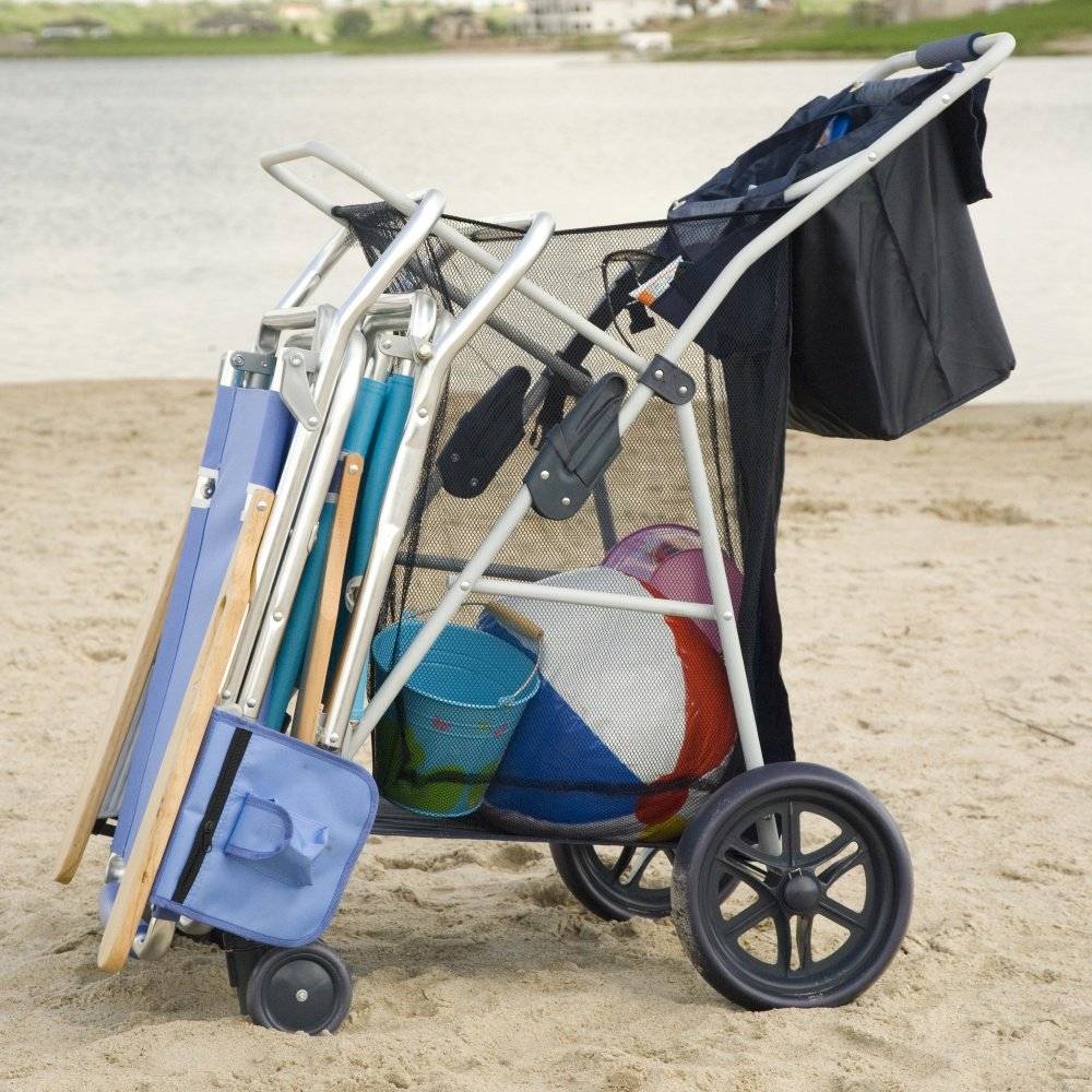 Most Popular Highest Rated Best Selling Beach Lake Wheeler Tote Deluxe Sturdy Cart Big Wheels by Rio (Image #1)