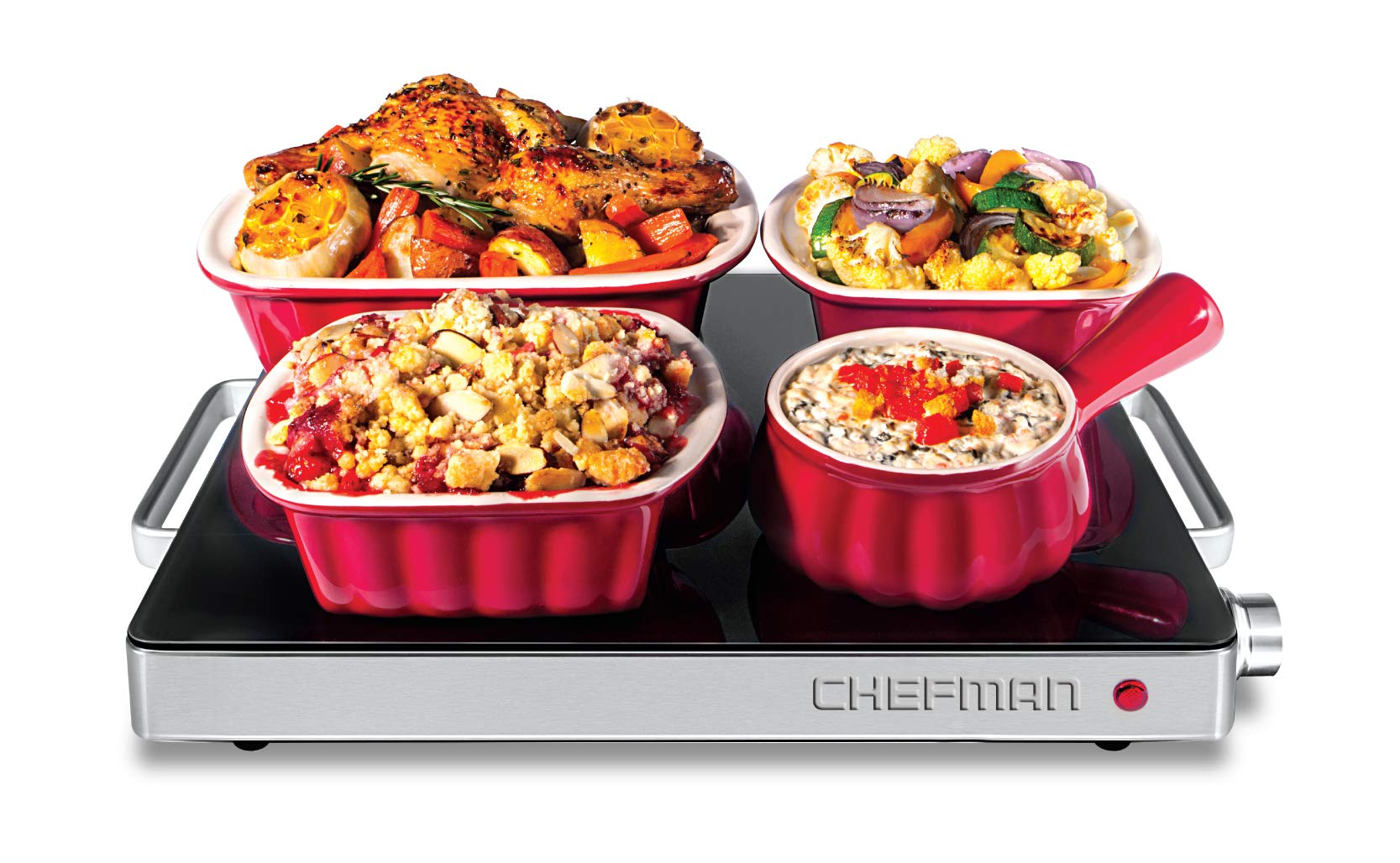Chefman Compact Glasstop Warming Tray with Adjustable Temperature Control Perfect for Buffets, Restaurants, Parties, Events, Home Dinners and Travel, Mini 15x12 Inch Surface, Keeps Food Hot, Black by Chefman