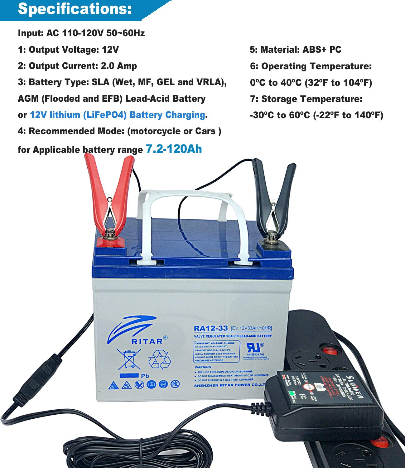 Suuwer 12v 2a Battery Charger Is A Smart Trickle Sealed Lead Acid Circuit Maintain Selectable Sla Agm Gel Cell Igel Ltv Lithium Lifepo4