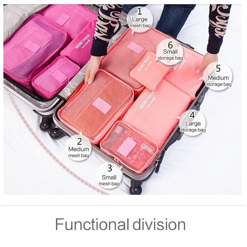 0e233dcf755c Unitravel 6 Set Packing Cubes Travel Luggage Organizer Compression Storage  Bag