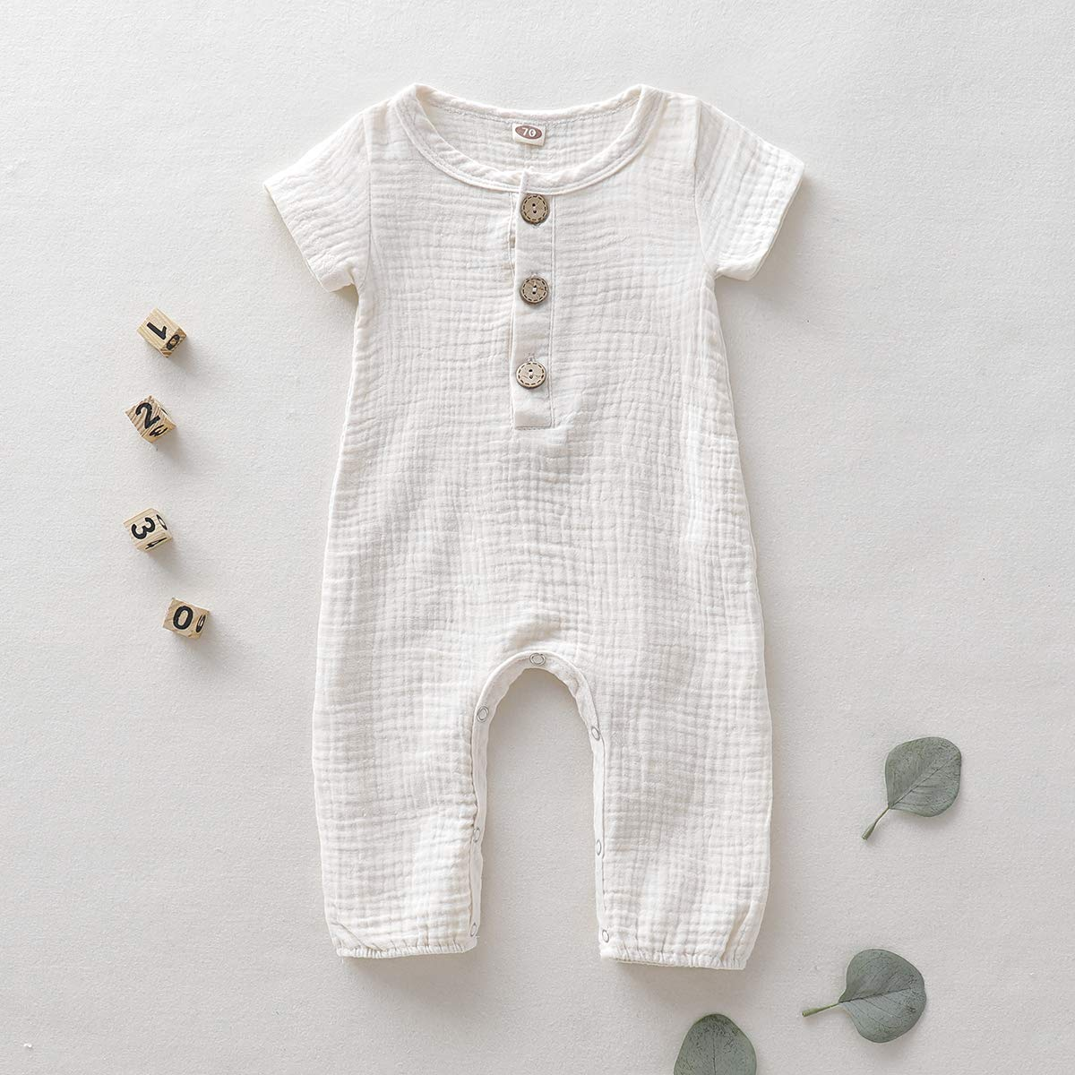 Newborn Baby Girl Jumpsuit Cotton Linen Solid Romper Short Sleeve One-Piece Bodysuit Infant Summer Clothes Outfits