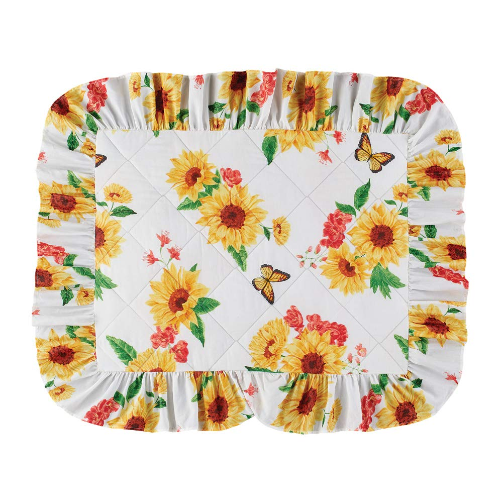 Realistic Sunflower and Butterfly Matching Standard Size Pillow Sham with Ruffled Edges by Collections Etc