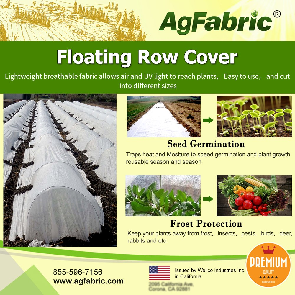 Agfabric Warm Worth Ultra-Heavy Floating Row Cover & Plant Blanket Kit with Pins, 2.0oz Fabric of 10x30ft for Frost Protection, Harsh Weather Resistance& Seed Germination by Agfabric