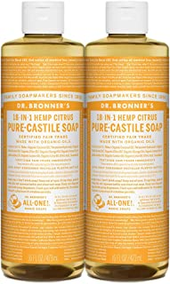 product image for Dr. Bronner's - Pure-Castile Liquid Soap (Citrus, 16 ounce, 2-Pack) - Made with Organic Oils, 18-in-1 Uses: Face, Body, Hair, Laundry, Pets and Dishes, Concentrated, Vegan, Non-GMO