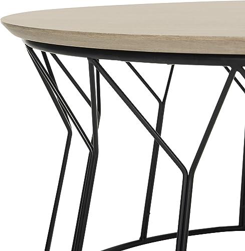 Safavieh Home Collection Deion Retro Mid-Century Light Oak and Black Wood Coffee Table