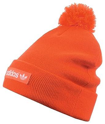 79584eaf3a5e42 adidas Originals Woven Logo Knitted Beanie Bobble Hat - OSFM Orange:  Amazon.co.uk: Clothing