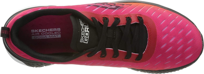 Skechers Women's Go Run Steady Trainers Black Black Textile Hot Pink Trim Bkhp