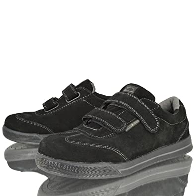 MENS STEEL TOE CAP SAFETY WORK LEATHER VELCRO LIGHTWEIGHT TRAINERS SHOES