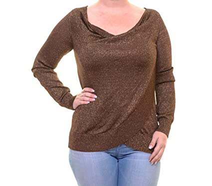 Inc Womens Metallic Crossover Pullover Sweater Brown M At Amazon