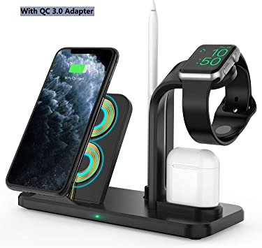 Wireless Charger Stand,4 in 1 Qi-Certified Charging Station for iPhone 11 Pro/XR/8 Plus/XS/X/Samsung s10, Charger Stand for Apple Watch Series ...