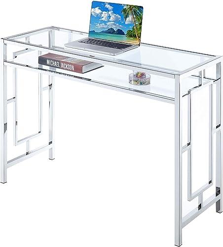 Convenience Concepts Town Square Chrome Shelf Desk, Clear Glass Frame