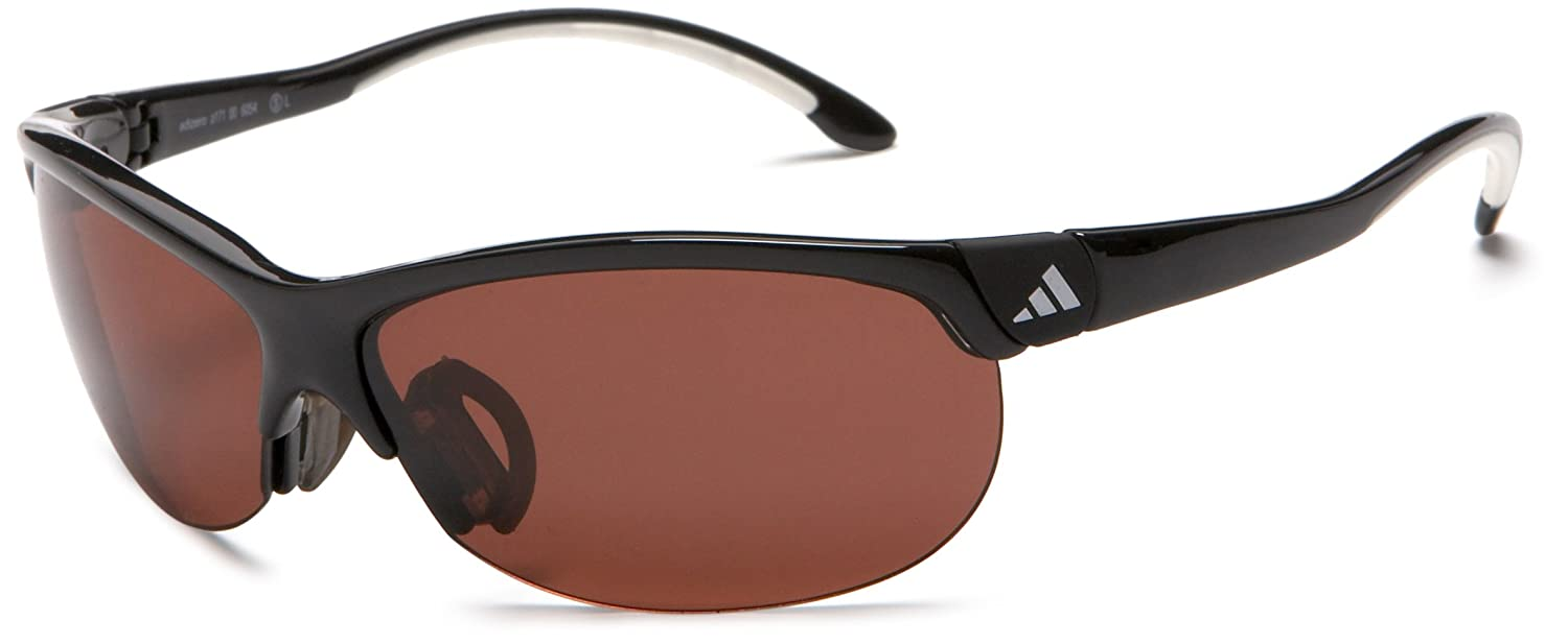 57e66becec Amazon.com  adidas Adizero S Sport Sunglasses Shiny Black And White  Frame Lst Polarized Lens One Size  Clothing