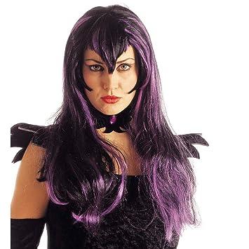 Halloween Carnaval de colour púrpura de la peluca de la peluca para mujer Samantha de la