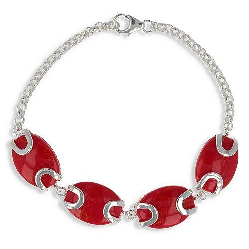 69855cf1bfc3 Idée cadeau femme anniversaire-Bracelet cabochons calcédoine teintée  couleur rouge et argent massif-Femme