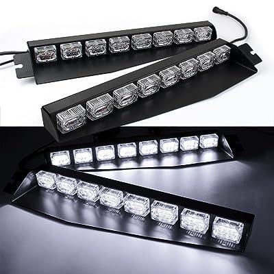 48LED 48W LED Lightbar Visor Light Windshield Emergency Hazard Warning Strobe Beacon Split Mount Deck Dash Lamp (White): Automotive
