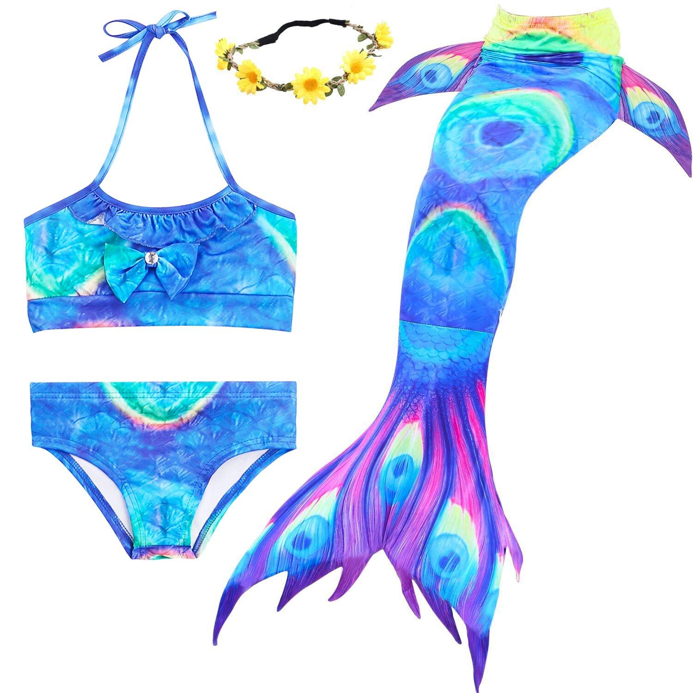 AMENON Girls Mermaid Tails Swimming Support Monofin Bikini Swimsuits Pool School Travel (Aab, XXL(8T)/ 7-8Y)