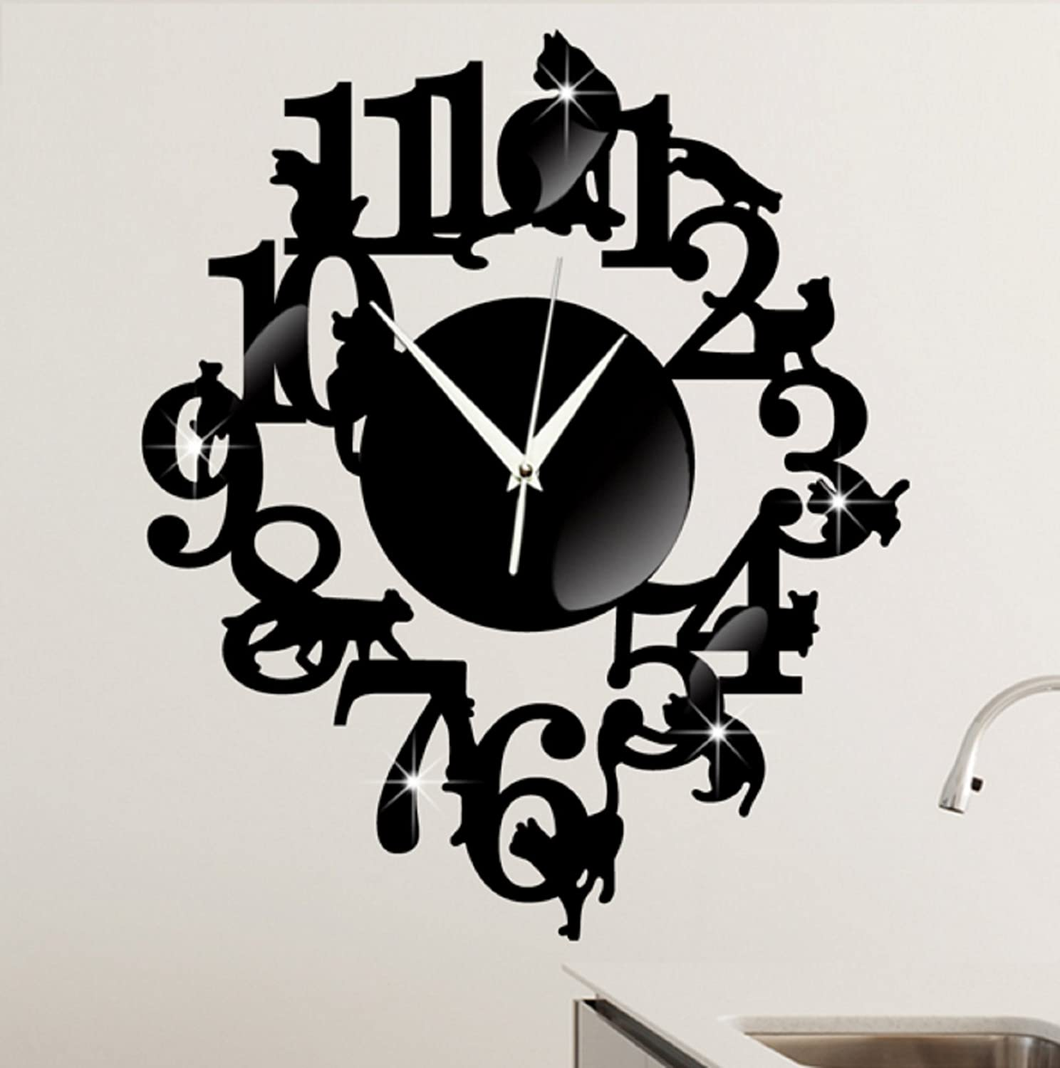 ... (Black Color) NEW home decor wandklok creative wall watch reloj Acrylic Cats Lovery large 3d vintage wall clocks modern design murale reloj pared: Baby