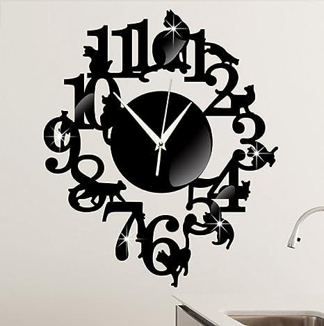 Amazon.com: (Black Color) NEW home decor wandklok creative wall watch reloj Acrylic Cats Lovery large 3d vintage wall clocks modern design murale reloj ...