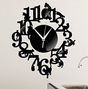 (Black Color) NEW home decor wandklok creative wall watch reloj Acrylic Cats Lovery large