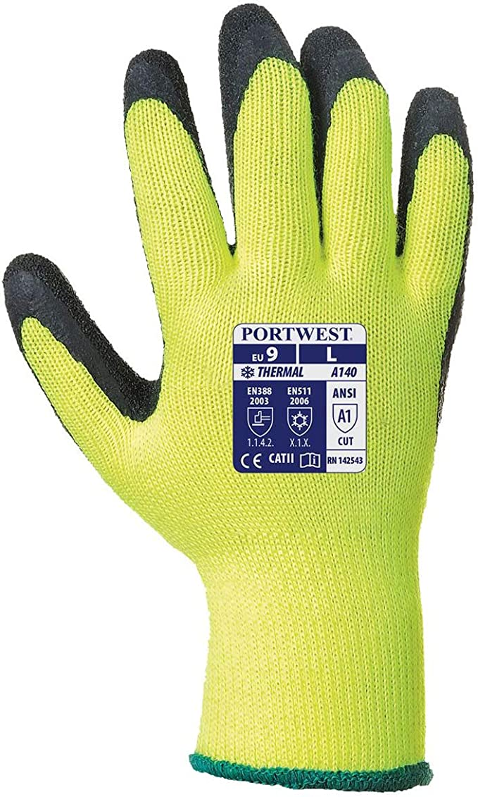 4 Pairs 4 x Thermal Hi Vis Yellow Grip Gloves Portwest A140 Sizes  M-XL