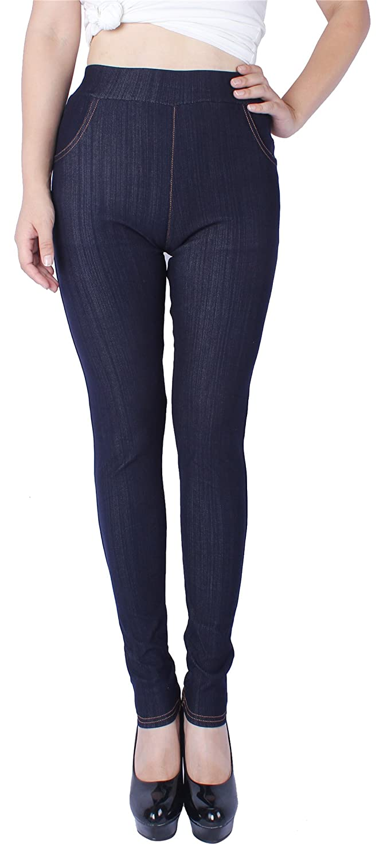 bluee(real Front Pockets) Sipaya Women's High Waist Jeans Leggings Denim Printed Skinny Jeggings S2XL