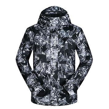 Wagsiyi Chaqueta de esquí de los Hombres Abrigo de Invierno cálido Chaqueta Impermeable con Capucha y puños Ajustables y Transpirables - para Clima frío ...