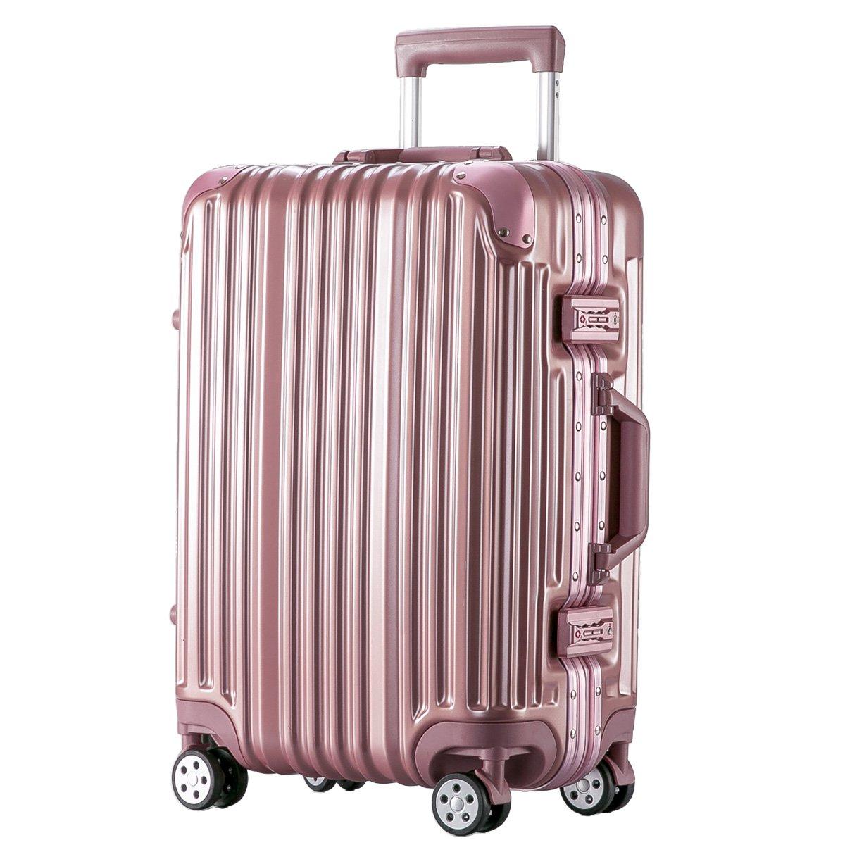 [トラベルハウス]Travelhouse スーツケース キャリーバッグ アルミフレーム ABS+PC 鏡面 超軽量 TSAロック B01L1J2ZYM L|ローズゴールド ローズゴールド L