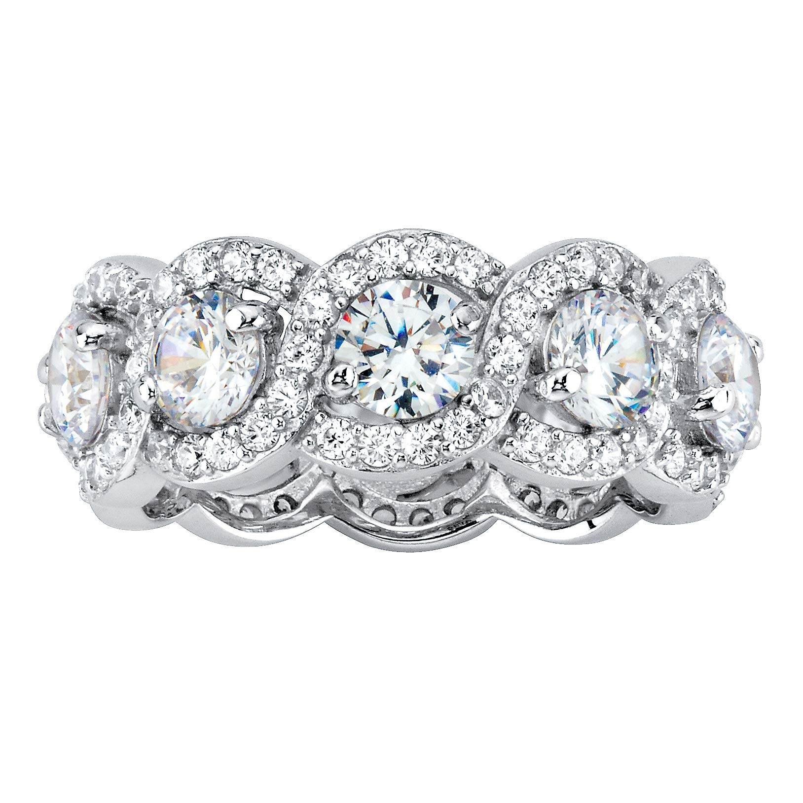 Round White Cubic Zirconia Platinum over .925 Sterling Silver Halo Crossover Eternity Ring