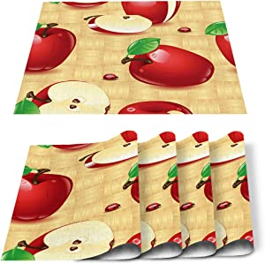 Greeeen Placemats Set of 4 Red Apples Heat Resistant Place Mat for Dining Table Washable Burlap Cotton Table Mats