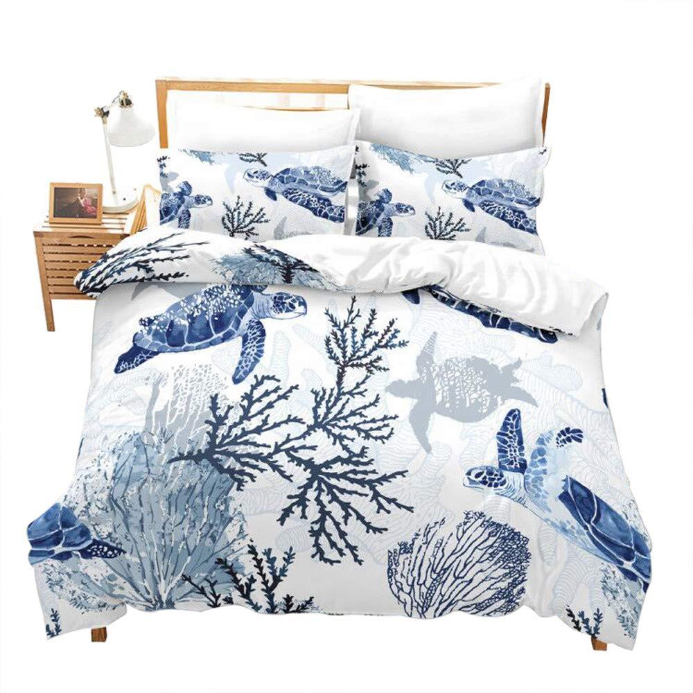 Erosebridal Turtle Bedding Sets King White Blue Hawaiian Duvet Cover Set,Tortoise Bedspreads Beach Theme Quilt Cover Underwater Children Comforter Cover for Summer