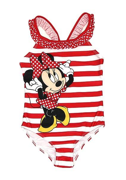 38e9c46e296 Minnie Mouse Disney Girls One Piece Bathing Suit Swim Wear (Red Stripe, 7/