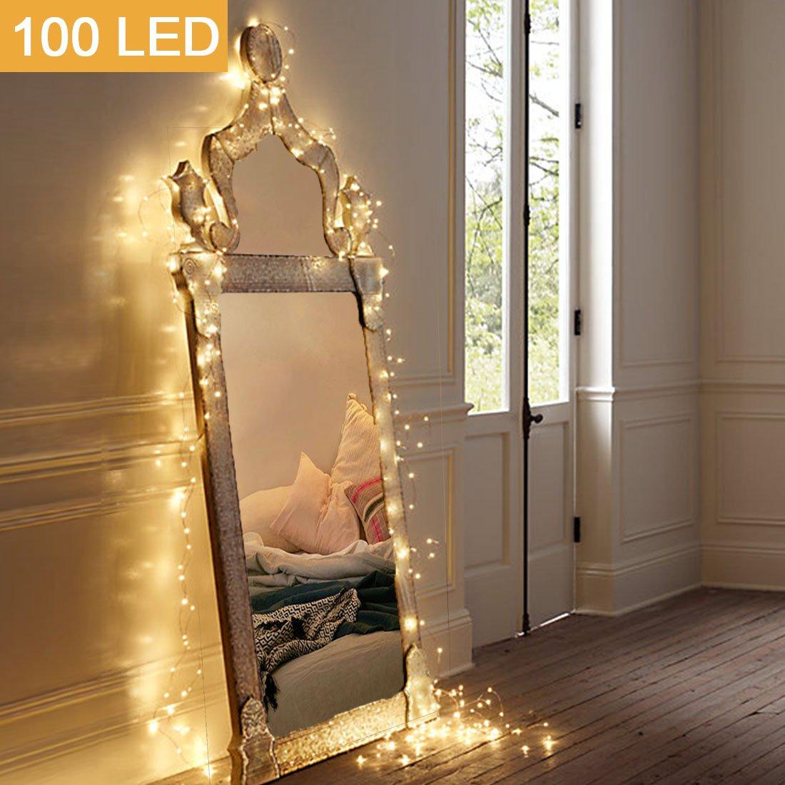 MOVEONSTEP Luci Stringa Impermeabili 100 LED Funzionamento a Batterie Luci Fatate 11M 8 Modalità Festa di Natale Natalizia Decorazione di Halloween Illuminazione-Bianco Caldo