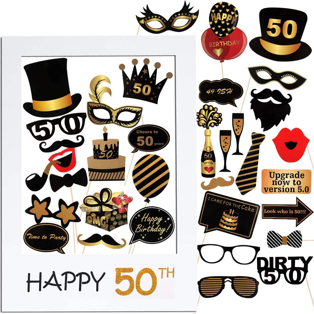 VINFUTUR 50th Cumpleaños Photo Booth Props, 35pcs Photobooth Cumpleaños Accesorios Fotocall para Cabina de Foto Props Fiesta Kit+Marco Photocall Atrezzo para Cumpleaños Decoración DIY (kit 50th)