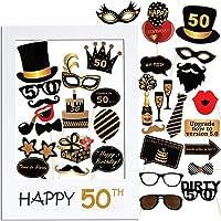 VINFUTUR 50th Cumpleaños Photo Booth Props, 35pcs Photobooth Cumpleaños Accesorios Fotocall para Cabina de Foto Props…