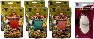 Higgins Worldly Cuisines Gourmet Food Appetizer for All Birds 3 Flavor 6 Pouch Plus Prevue Hendryx Cuttlebone Bundle, 2 Each: Moroccan Cafe, Creamy Zen, Spice Market (2 Ounces)