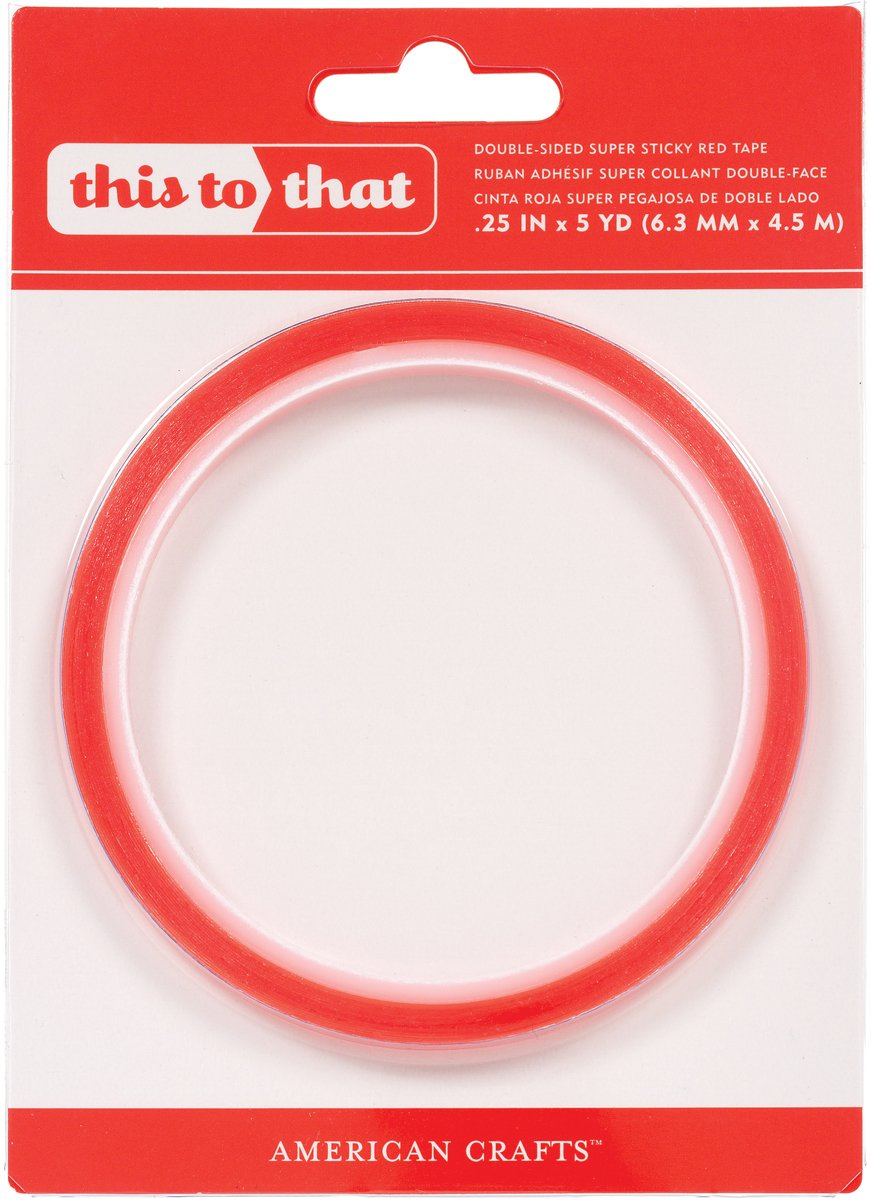 Double sided craft tape - Amazon Com American Crafts This To That Double Sided Super Sticky Tape 0 25 By 5 Yard Red Arts Crafts Sewing