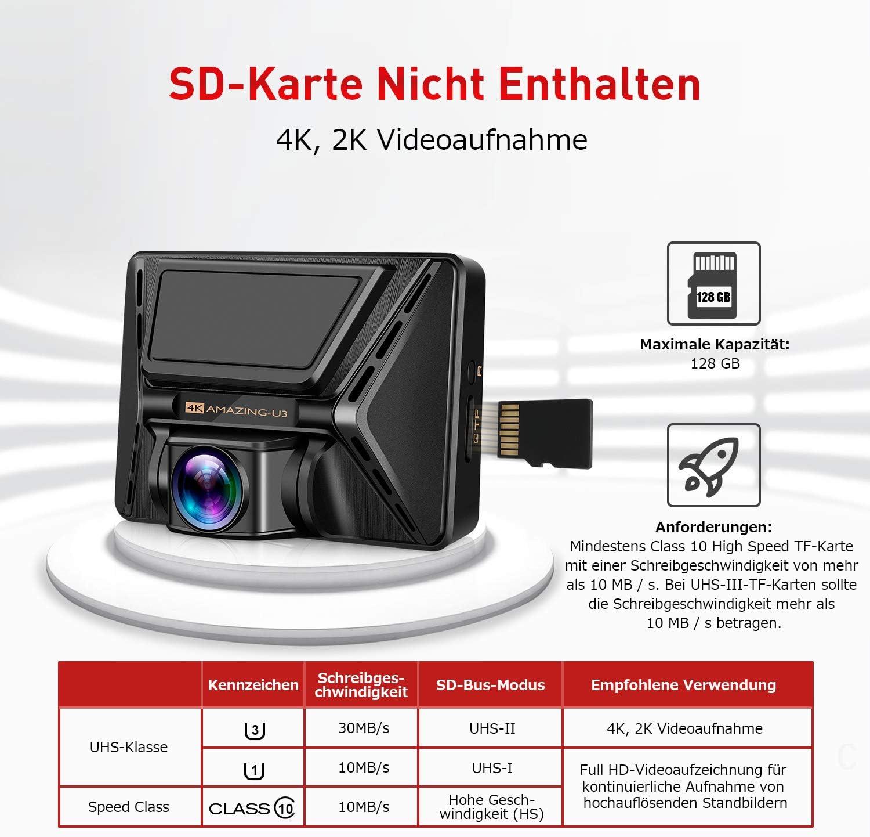 Nachtsicht und G-Sensor Oasser Dashcam Autokamera Full HD 4K ...