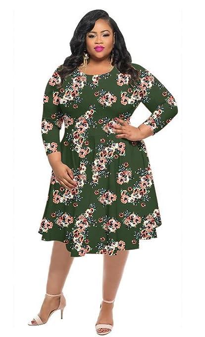 Women Fashion Casual Dresses Plus Size Printed Round Neck Maxi Dress