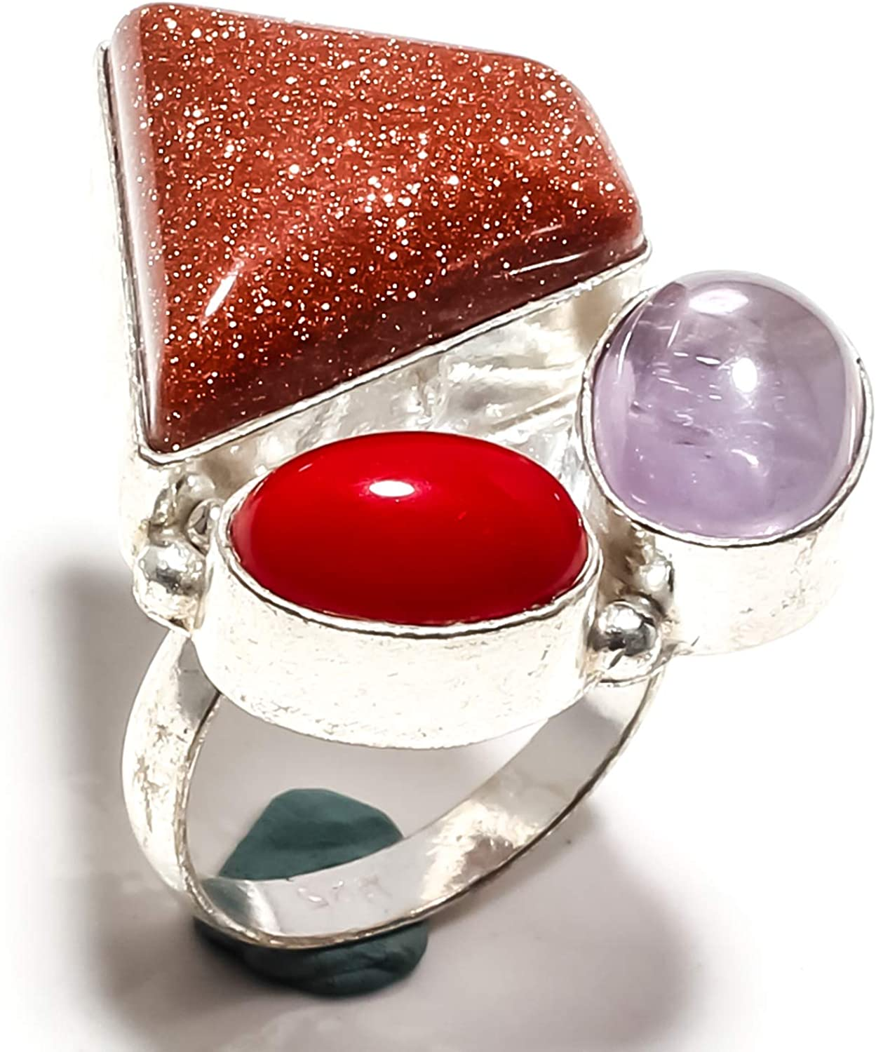 jewelsworld Red Sunstone /& Red Coral,Amethyst SageGemstone Ring Handmade 925 Sterling Silver Plated Jewelry -Statement Ring - - Ring Size - 8 US SF-1860