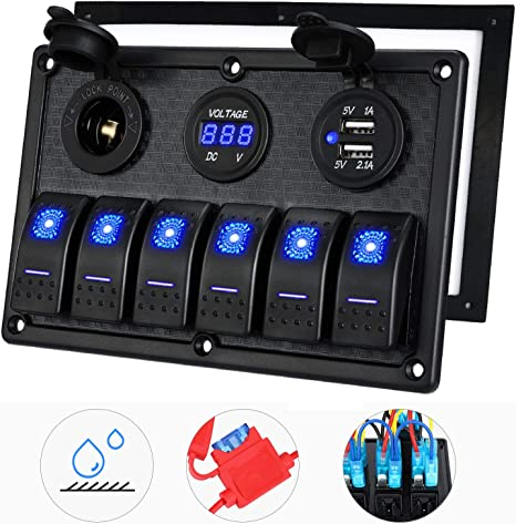 Waterproof 8Gang Auto Marine Boat Rocker Switch Panel Breaker Voltmeter 12V//24V