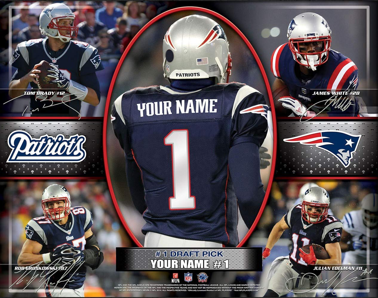 Personalized New England Patriots Wall Poster, NFL Draft Pick Unframed Print (12x16)