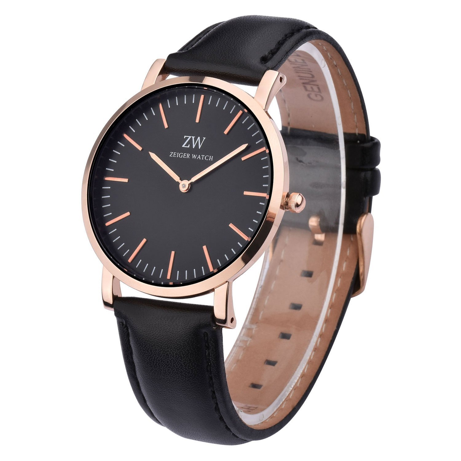 faf7c350e Zeiger New Mens Women Fashion Casual Business Black Dial Analog Quartz Watch  with Leather Band (Black and Rose Gold) - 43219-79357 < Wrist Watches ...
