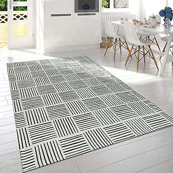 Paco Home Moderne Poils Ras Salon Tapis Carreaux Design ...