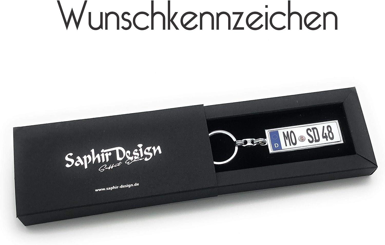 Saphir Design Mini Kennzeichen Schlüsselanhänger In Hoher Qualität Mit Kfz Autokennzeichen Wunschkennzeichen Personalisiertes Schlüsselanhänger Auto