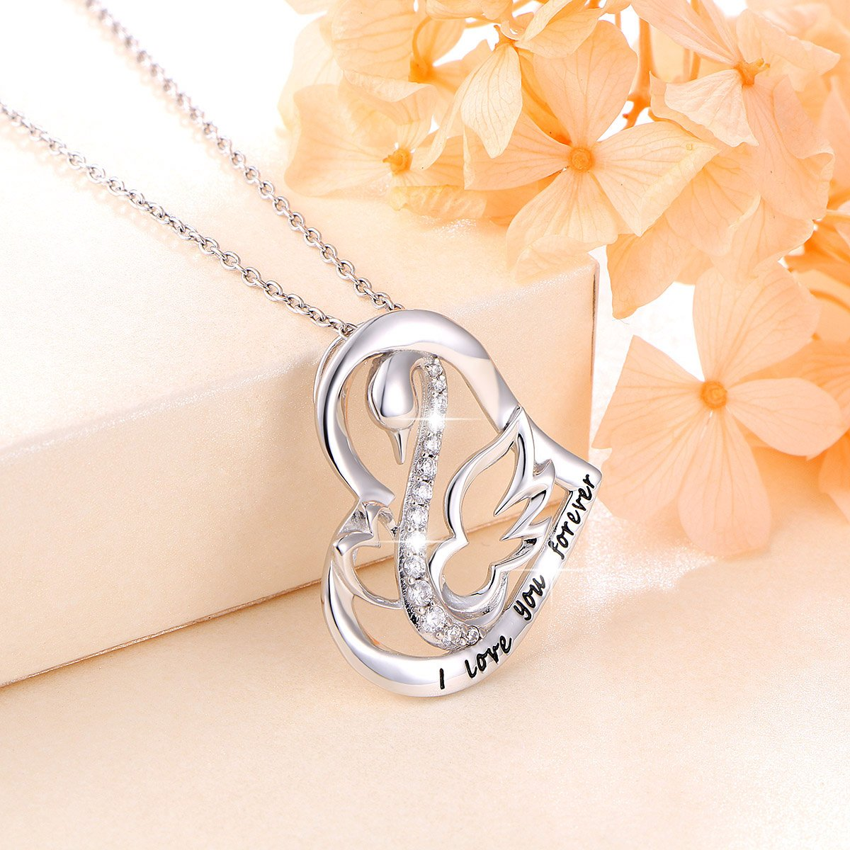 Ladytree S925 Sterling Silver Swan Necklace I Love You Forever Love Heart Pendant for Mom Women,18