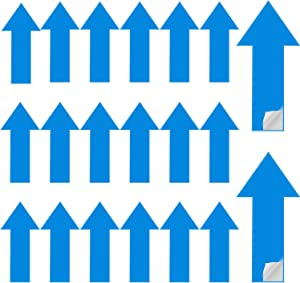 30 Pieces Removable Arrow Stickers Adhesive Directional Arrow Decal Traffic Flow Guidance Marker Temporary Floor and Wall Arrow Sign, 12 x 6 Inch (Blue)