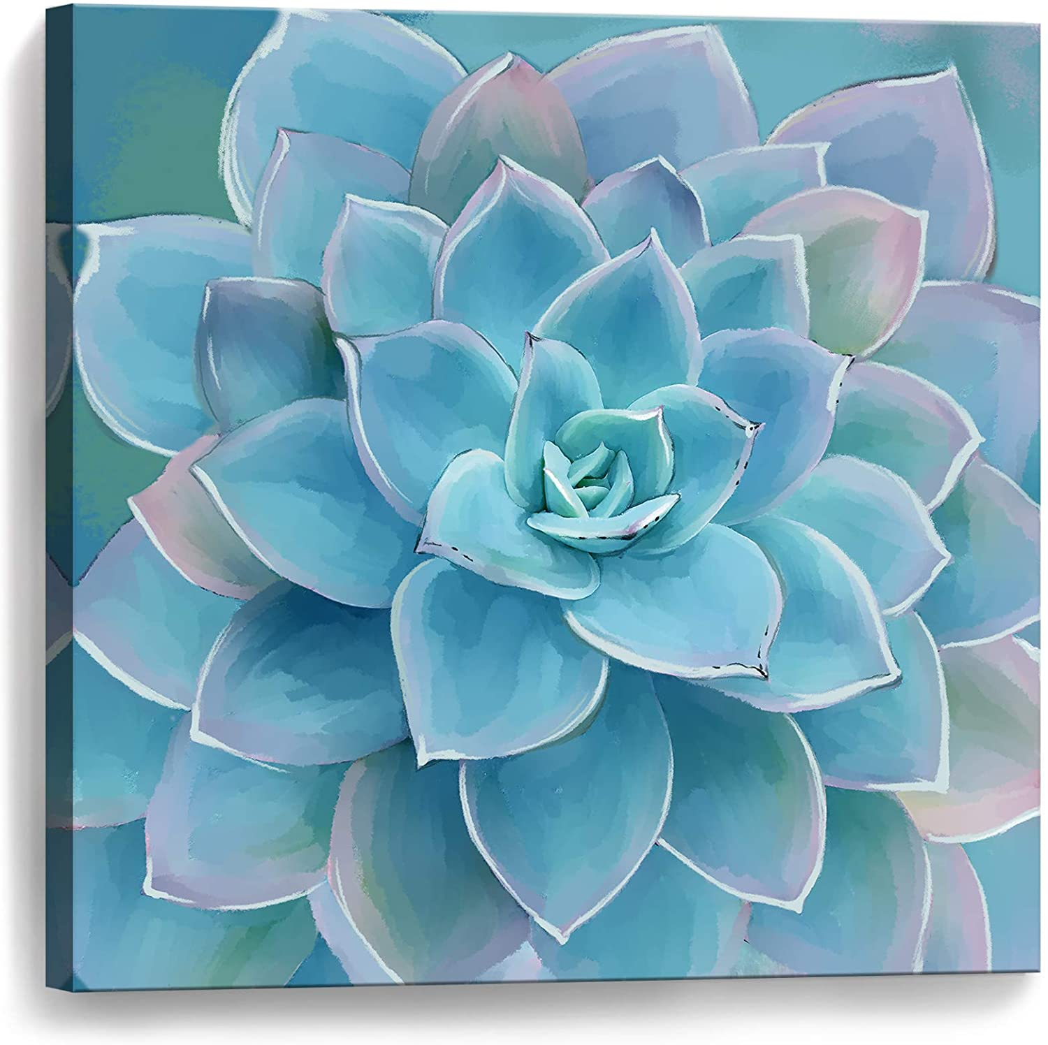 Blue-Green Succulents Bathroom Decor Wall Art Framed Modern Popular Wall Plants Decorations Canvas Prints Artwork Wall Decor for Bedroom Blue-Green Flower Pictures Size 14x14 Easy to Hang